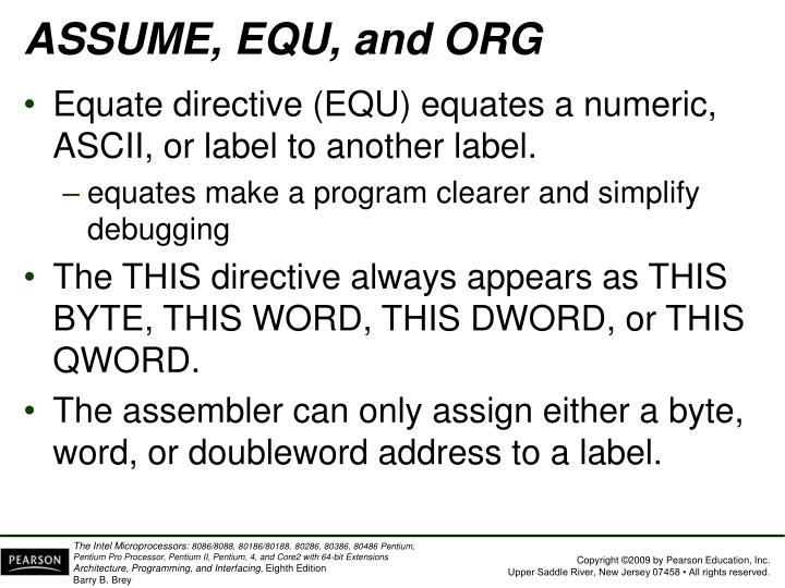 ASSUME, EQU, and ORG