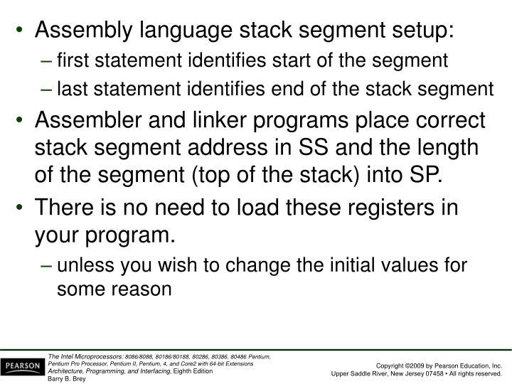 Assembly language stack segment setup: