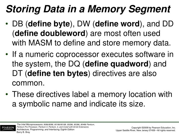 Storing Data in a Memory Segment