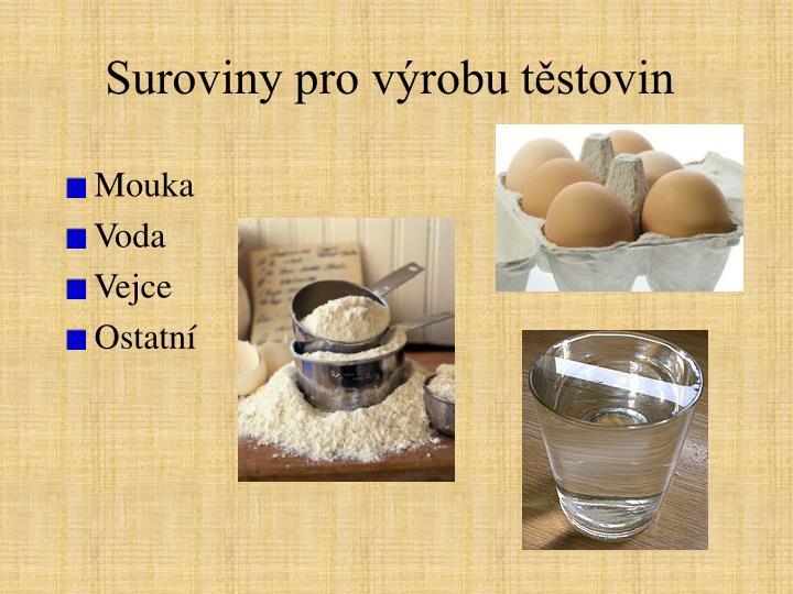 Suroviny pro výrobu těstovin