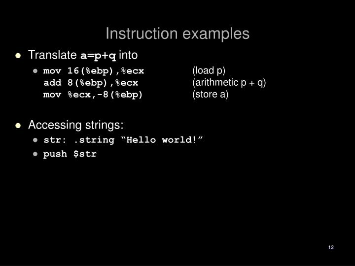 Instruction examples