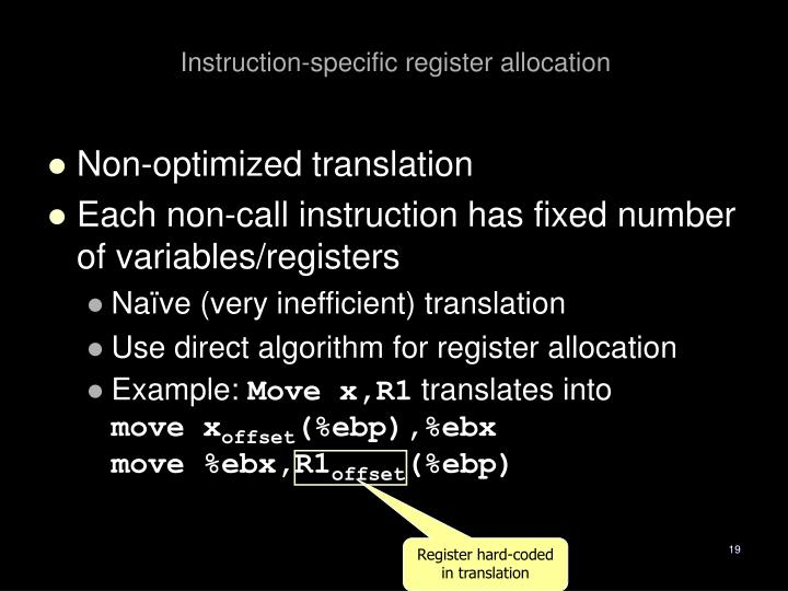 Instruction-specific register allocation
