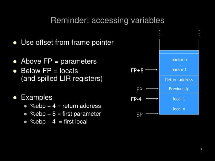 Reminder: accessing variables
