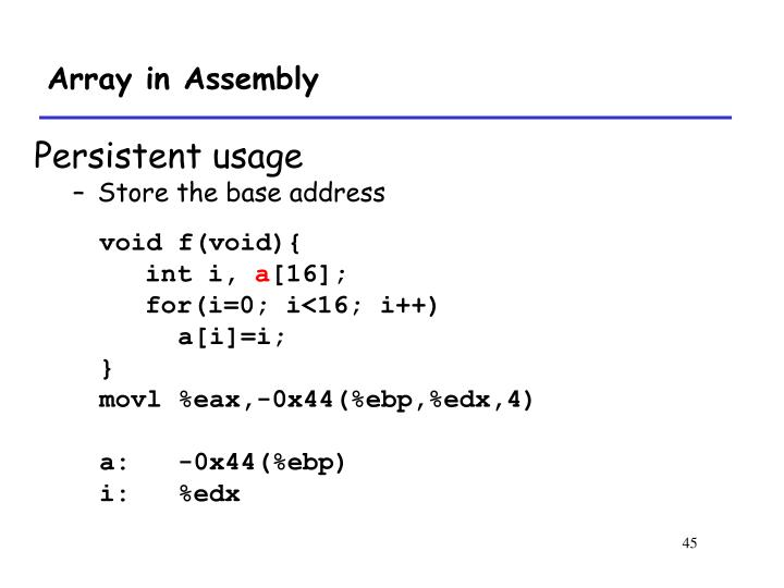 Array in Assembly
