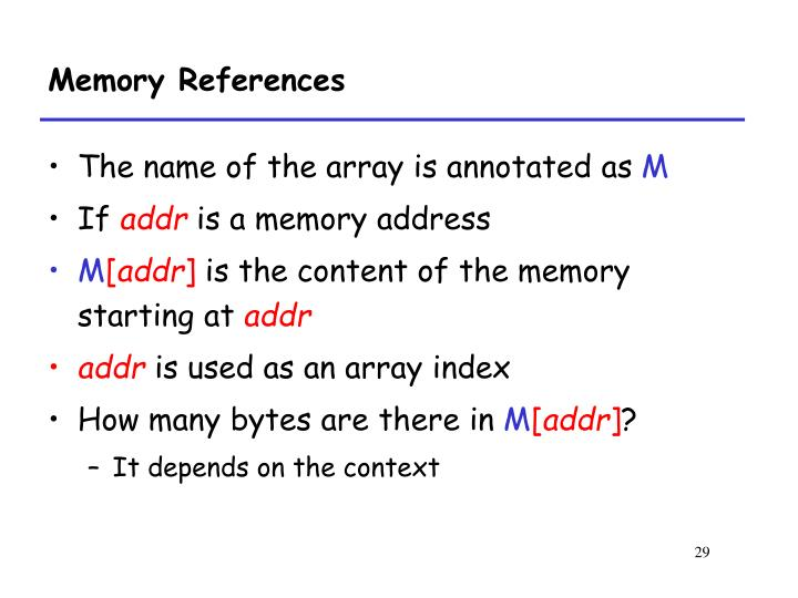 Memory References