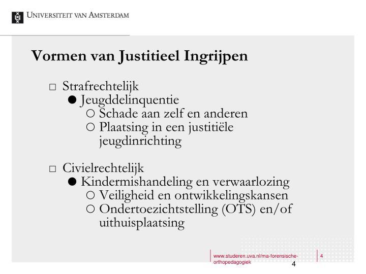 Vormen van Justitieel Ingrijpen
