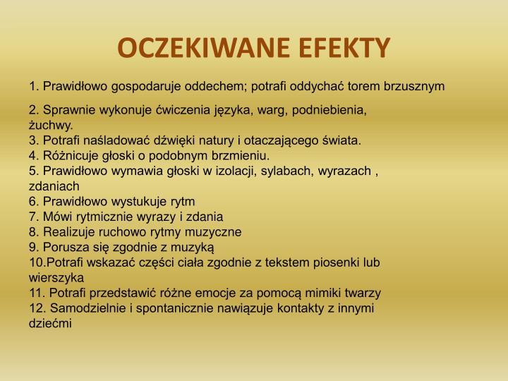 OCZEKIWANE EFEKTY