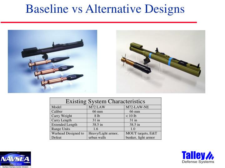 Baseline vs Alternative Designs