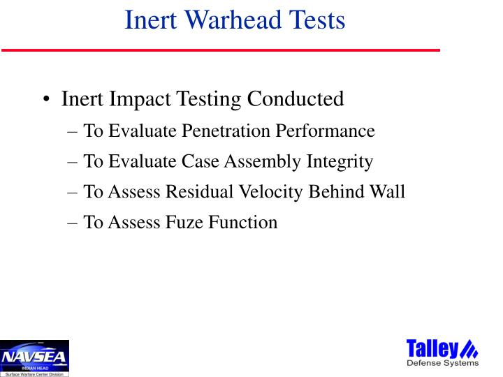 Inert Warhead Tests