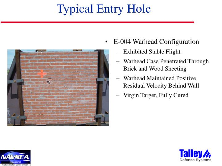 Typical Entry Hole