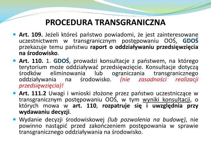 PROCEDURA TRANSGRANICZNA
