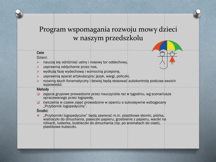 Program wspomagania rozwoju mowy dzieci