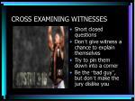 cross examining witnesses