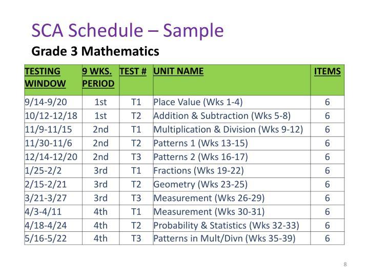 SCA Schedule – Sample