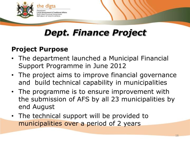 Dept. Finance Project