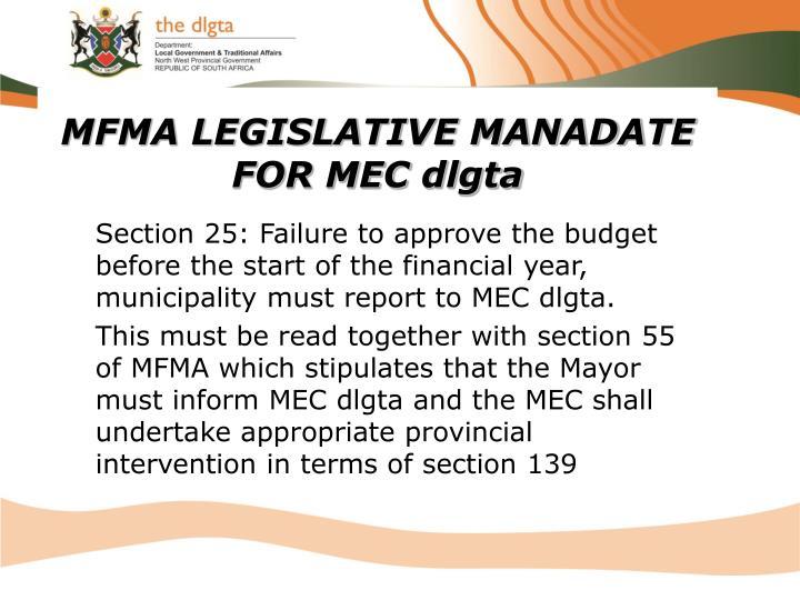 MFMA LEGISLATIVE MANADATE FOR MEC