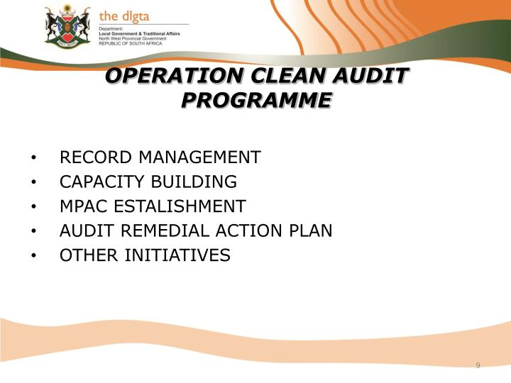 OPERATION CLEAN AUDIT PROGRAMME