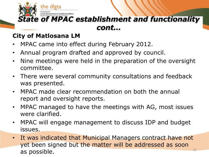 State of MPAC establishment and functionality  cont…