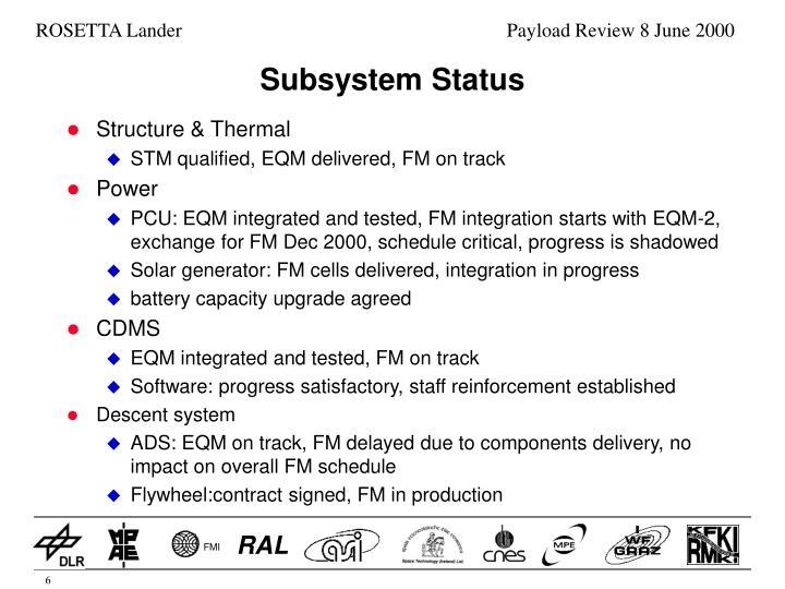 Subsystem Status