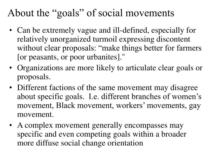 "About the ""goals"" of social movements"