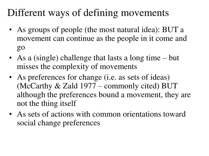 Different ways of defining movements