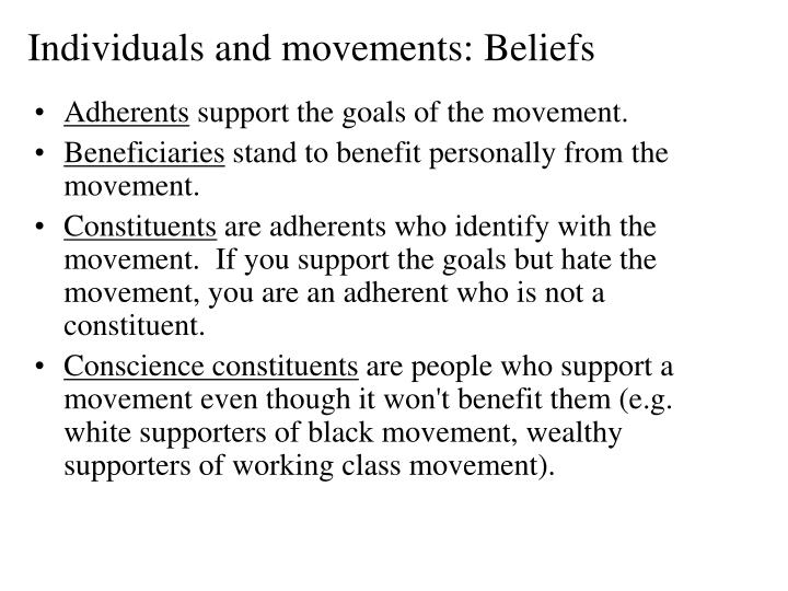 Individuals and movements: Beliefs