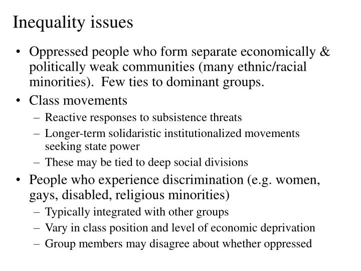 Inequality issues