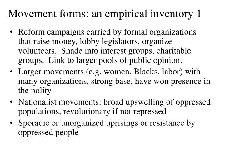 Movement forms: an empirical inventory 1