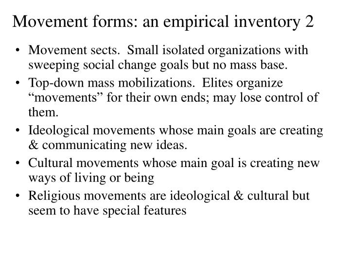 Movement forms: an empirical inventory 2