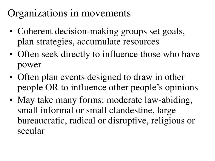 Organizations in movements