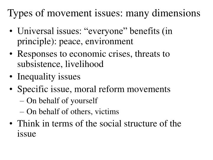 Types of movement issues: many dimensions
