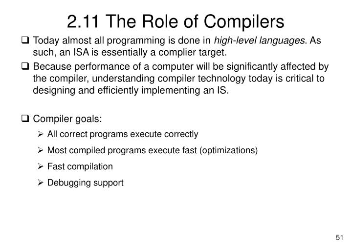 2.11 The Role of Compilers