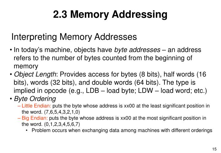 2.3 Memory Addressing