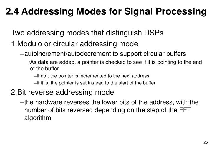 2.4 Addressing Modes for Signal Processing
