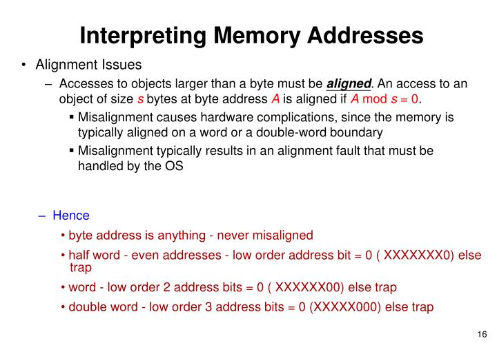 Interpreting Memory Addresses