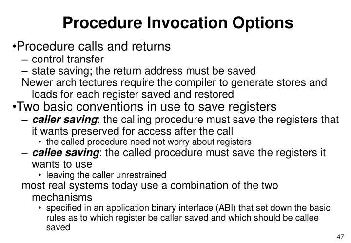 Procedure Invocation Options