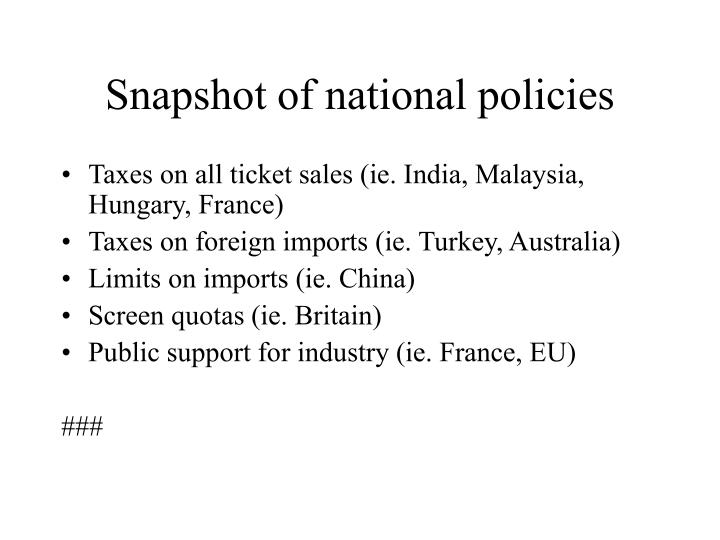 Snapshot of national policies