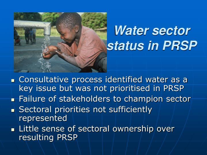 Water sector status in PRSP