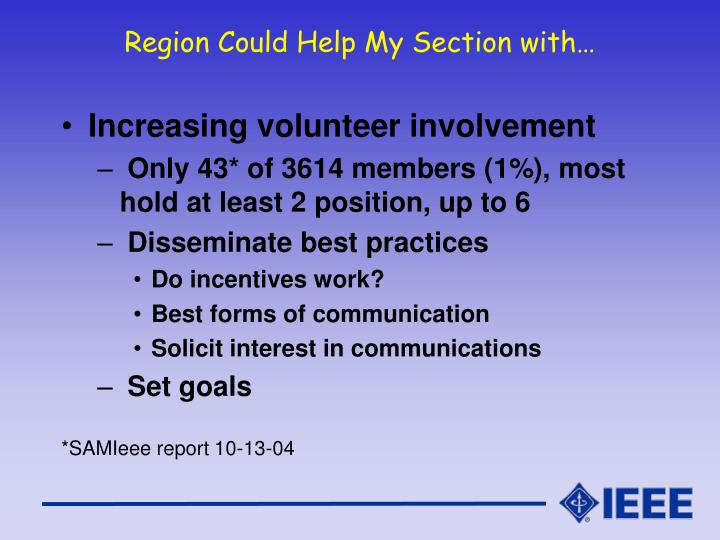 Region Could Help My Section with…