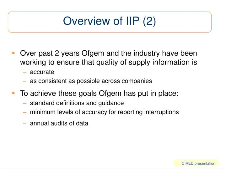 Overview of IIP (2)