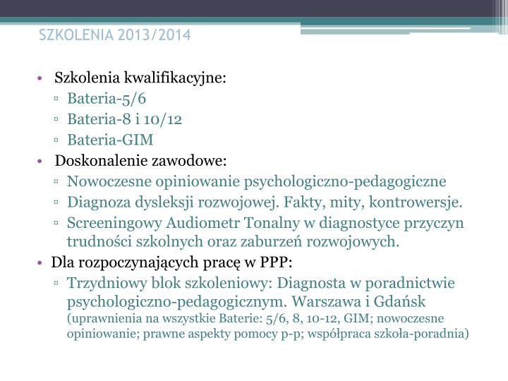 SZKOLENIA 2013/2014