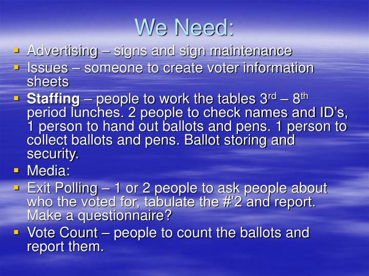 We Need: