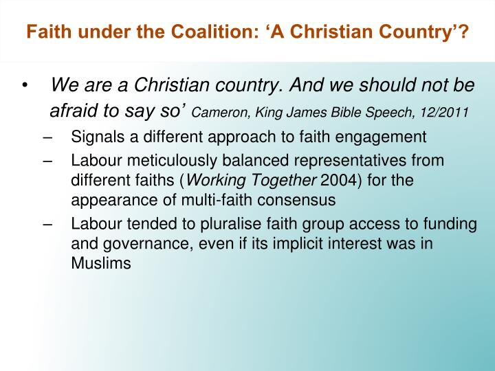 Faith under the Coalition: 'A Christian Country'?