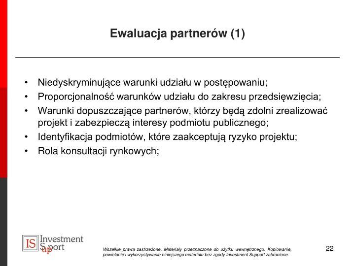 Ewaluacja partnerów (1)