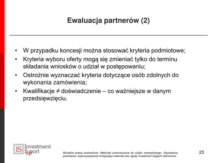 Ewaluacja partnerów (2)