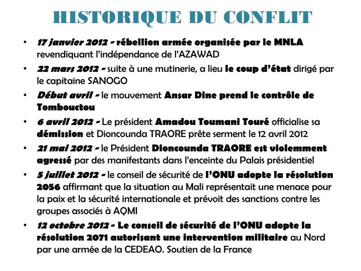 HISTORIQUE DU CONFLIT