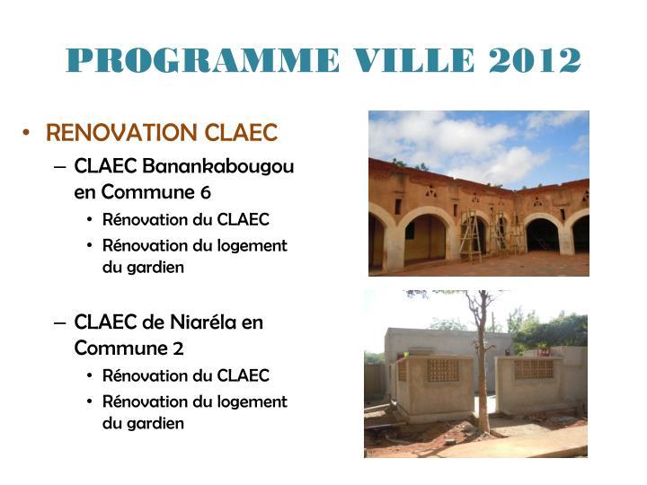 PROGRAMME VILLE 2012