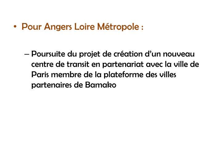 Pour Angers Loire Métropole :