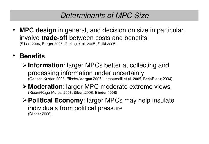 Determinants of MPC Size