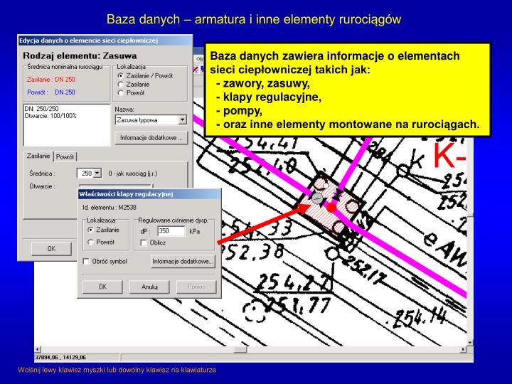 Baza danych – armatura i inne elementy rurociągów